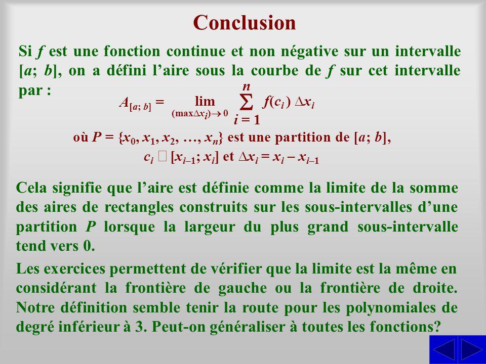 où P = {x0, x1, x2, …, xn} est une partition de [a; b],